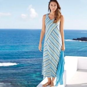J Jill love linen lotus stripe blue maxi dress